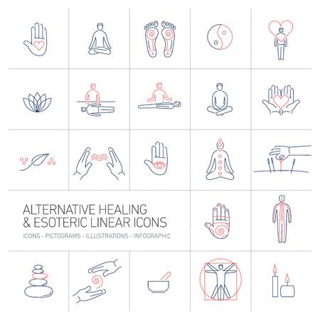 medicina alternativa y los iconos lineales esotéricas establecido azul y rojo sobre fondo de colores | ilustración, diseño plano y infografía