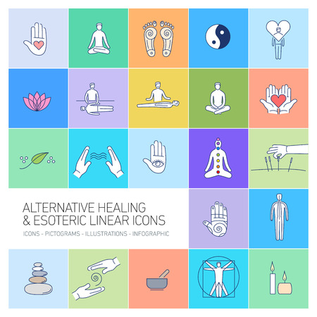 alternative healing and esoteric linear icons set on colorful background | flat design illustration and infographic