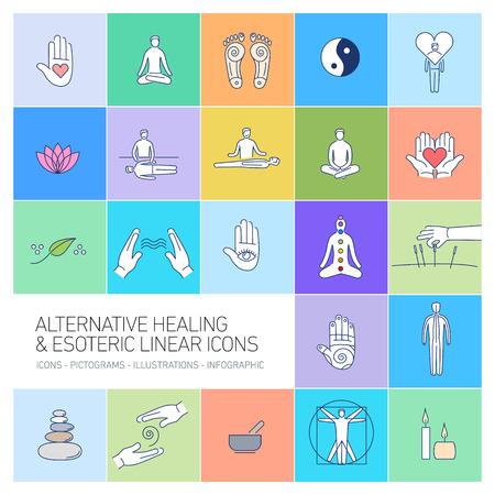 治癒: alternative healing and esoteric linear icons set on colorful background   flat design illustration and infographic