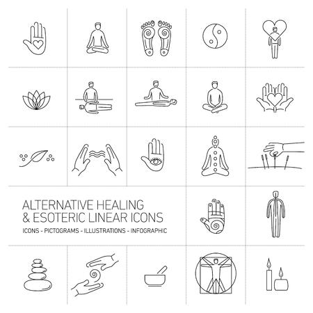 alternatieve geneeswijzen en esoterische lineaire pictogrammen instellen zwart op witte achtergrond | platte ontwerp illustratie en infographic
