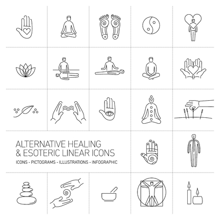 oriental medicine: alternative healing and esoteric linear icons set black on white background | flat design illustration and infographic