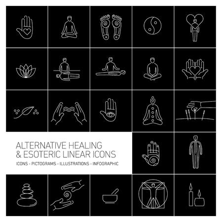 治癒: alternative healing and esoteric linear icons set white on black background   flat design illustration and infographic