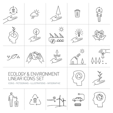 antipollution: ecology and environment icons set on white background