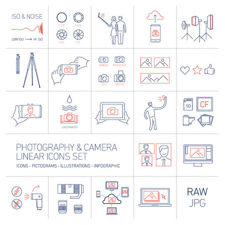 linear vector photography and camera icons set blue and red isolated on white background | illustrations of gear and equipment for professional photographers and amateurs Illustration