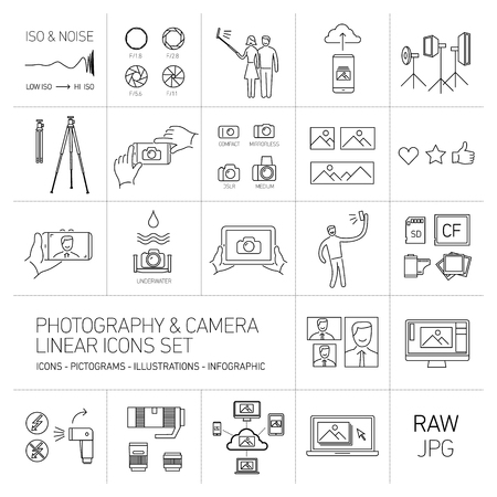 professional equipment: linear vector photography and camera icons set black isolated on white background | illustrations of gear and equipment for professional photographers and amateurs