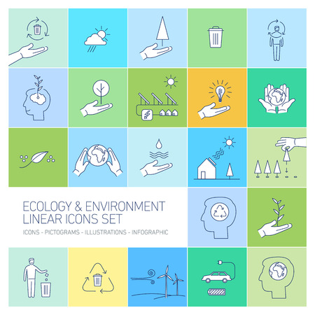 antipollution: ecology and environment icons set on colorful background