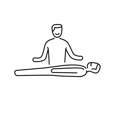 yoga to cure health: Man healing other man on massage table black linear icon on white background | flat design alternative healing illustration and infographic