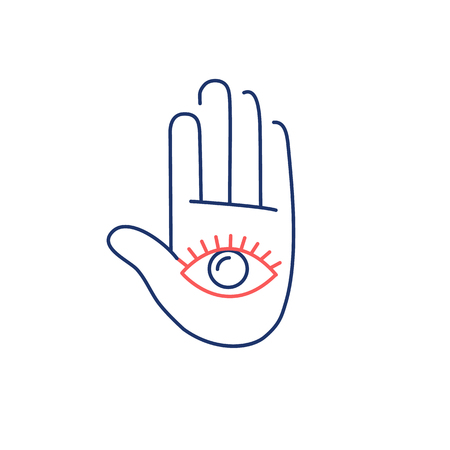 open eye: Eye in open hand palm red and blue linear icon on white background | flat design alternative healing illustration and infographic