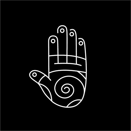 reiki: Reflex therapy energy zones on palm hand white linear icon on black background | flat design alternative healing illustration and infographic