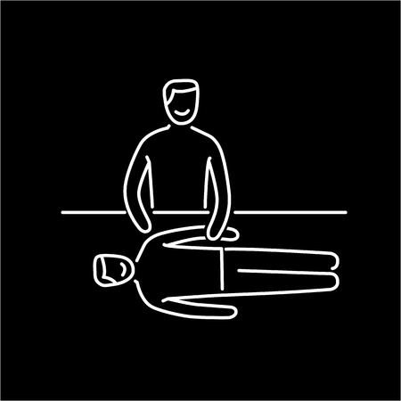 energy healing: Man energetic healing other man on massage table black linear icon on white background | flat design alternative healing illustration and infographic Illustration