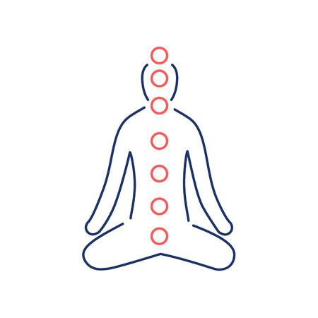 治癒: Meditation and chakras red and blue linear icon on white background   flat design alternative healing illustration and infographic