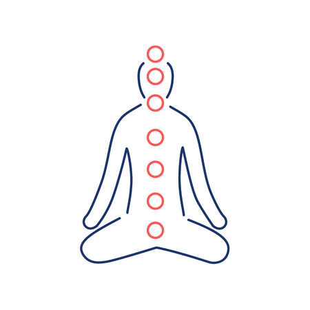 Meditation and chakras red and blue linear icon on white background   flat design alternative healing illustration and infographic