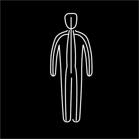 meridians: Meridians of the body white linear icon on black background | flat design alternative healing illustration and infographic