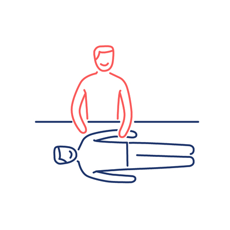 energetic: Man energetic healing other man on massage table red and blue linear icon on white background | flat design alternative healing illustration and infographic