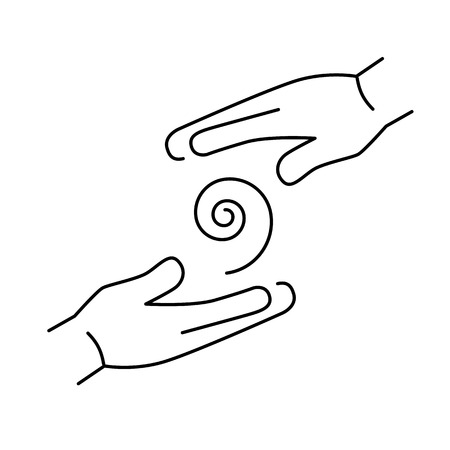 Flowing healing energy between two hands black linear icon on white background   flat design alternative healing illustration and infographic