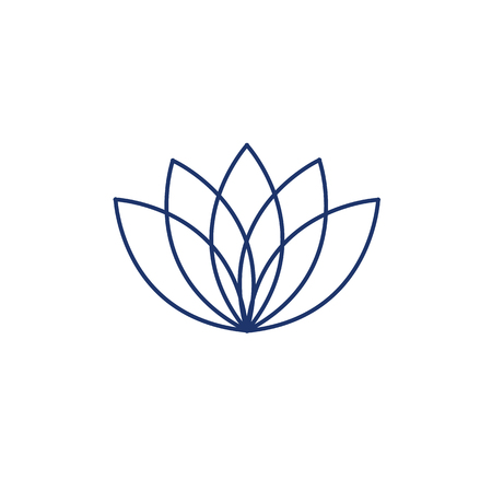 lotos: Lotos flower blue linear icon on white background | flat design alternative healing illustration and infographic