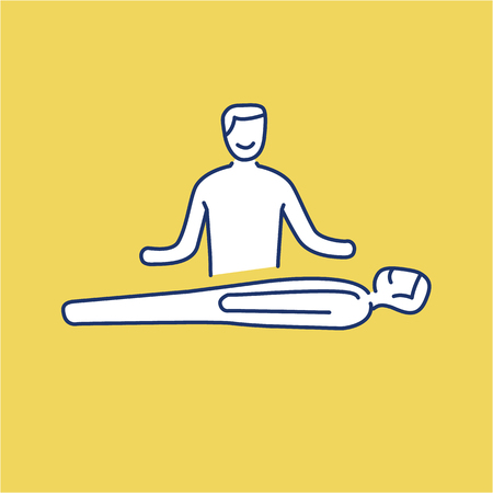 Man healing other man on massage table white linear icon on yellow background   flat design alternative healing illustration and infographic