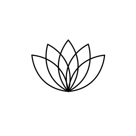 治癒: Lotos flower black linear icon on white background   flat design alternative healing illustration and infographic