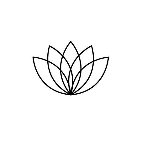 lotos: Lotos flower black linear icon on white background | flat design alternative healing illustration and infographic