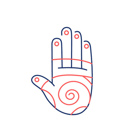 energy healing: Reflex therapy energy zones on palm hand red and blue linear icon on white background | flat design alternative healing illustration and infographic