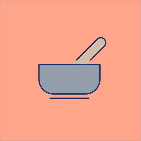 治癒: Mortar for aromatherapy grey linear icon on orange background   flat design alternative healing illustration and infographic  イラスト・ベクター素材
