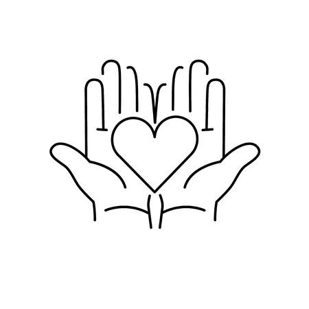 Coeur dans les mains ouvertes linéaire icône noire sur fond blanc   design plat illustration de guérison alternatives et infographie Vecteurs