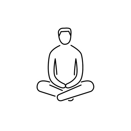 meditation man: Man sitting and relaxing in meditation position black linear icon on white background | flat design alternative healing illustration and infographic Illustration