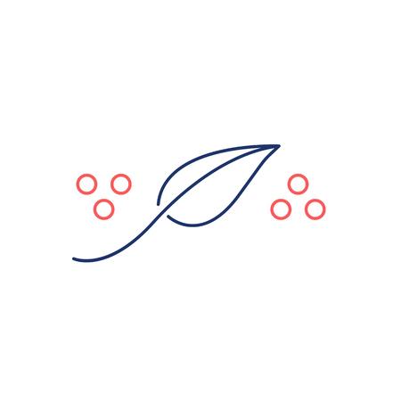 治癒: Homeopathy natural healing red and blue linear icon on white background   flat design alternative healing illustration and infographic  イラスト・ベクター素材