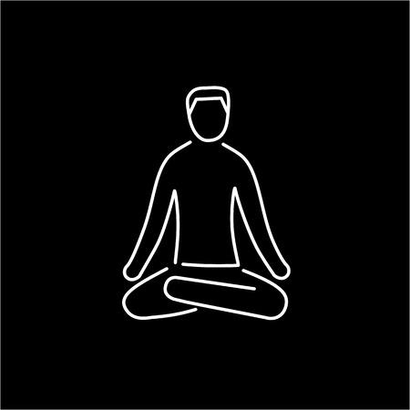 治癒: Meditation relaxation positon white linear icon on black background   flat design alternative healing illustration and infographic