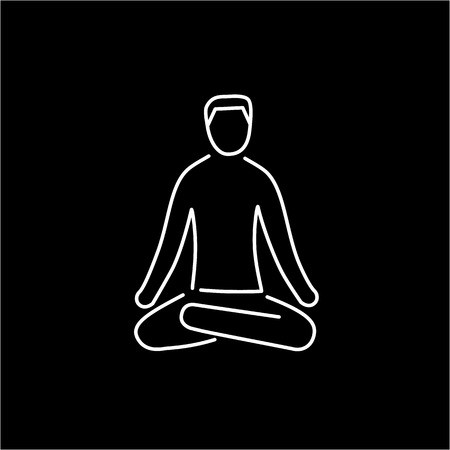 acupuntura: Meditation relaxation positon white linear icon on black background | flat design alternative healing illustration and infographic