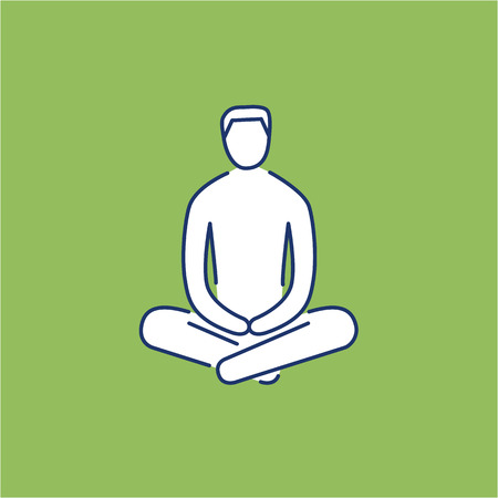 meditation man: Man sitting and relaxing in meditation position white linear icon on green background | flat design alternative healing illustration and infographic Illustration