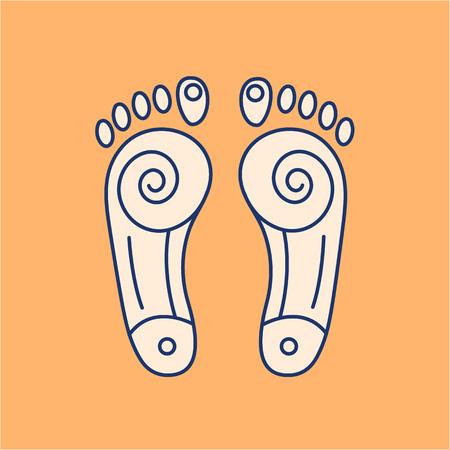 Reflex therapie energie-zones op de voeten gekleurde lineaire pictogram op oranje achtergrond | platte ontwerp alternatieve geneeswijzen illustratie en infographic Stock Illustratie