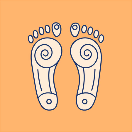 energy healing: Reflex therapy energy zones on feet colored linear icon on orange background | flat design alternative healing illustration and infographic