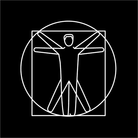 meridians: Proportion of human body white linear icon on black background | flat design alternative healing illustration and infographic Illustration