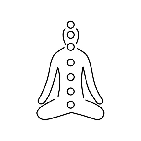 Meditation and chakras black linear icon on white background | flat design alternative healing illustration and infographic Vectores