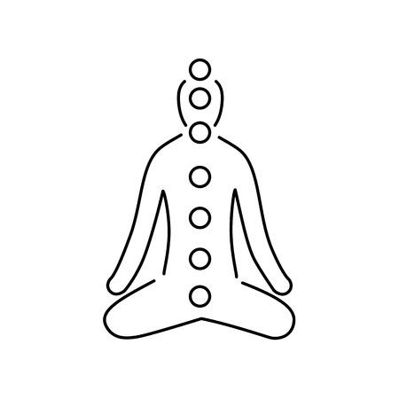 治癒: Meditation and chakras black linear icon on white background   flat design alternative healing illustration and infographic  イラスト・ベクター素材