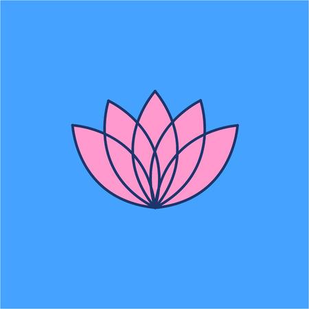 治癒: Lotos flower pink linear icon on blue background   flat design alternative healing illustration and infographic