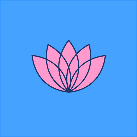 yoga to cure health: Lotos flower pink linear icon on blue background | flat design alternative healing illustration and infographic