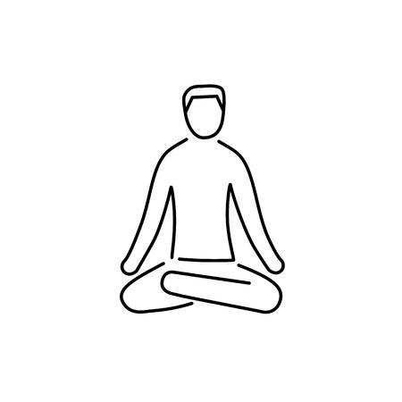 治癒: Meditation relaxation positon black linear icon on white background   flat design alternative healing illustration and infographic