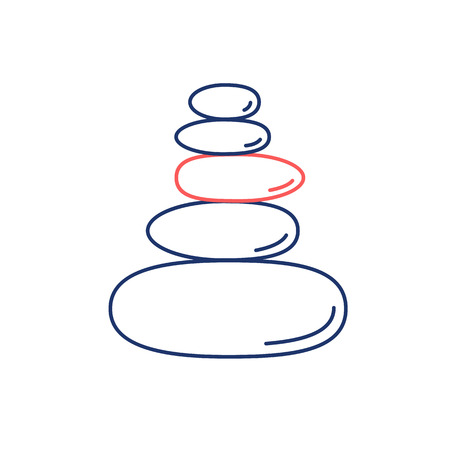 治癒: Pyramid of the balancing stones red and blue linear icon on white background   flat design alternative healing illustration and infographic
