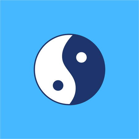 energy healing: Ying yang linear white and blue icon symbol of harmony and balance on blue background | flat design alternative healing illustration and infographic