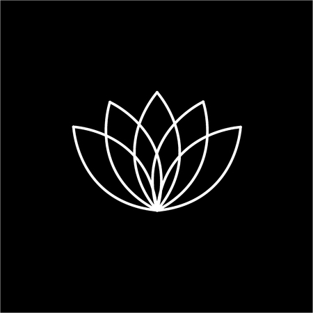reiki: Lotos flower white linear icon on black background | flat design alternative healing illustration and infographic