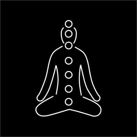 治癒: Meditation and chakras white linear icon on black background   flat design alternative healing illustration and infographic