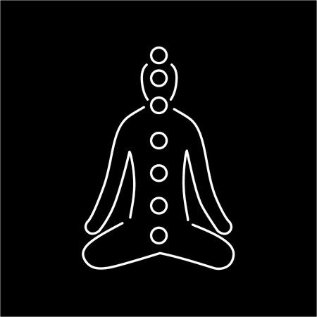 yoga to cure health: Meditation and chakras white linear icon on black background | flat design alternative healing illustration and infographic