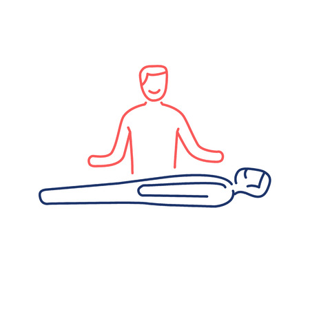 yoga to cure health: Man healing other man on massage table red and blue linear icon on white background | flat design alternative healing illustration and infographic