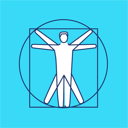 energy healing: Proportion of human body black and white linear icon on blue background | flat design alternative healing illustration and infographic Illustration