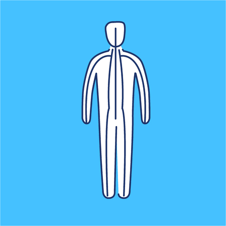 meridians: Meridians of the body white linear icon on blue background | flat design alternative healing illustration and infographic Illustration