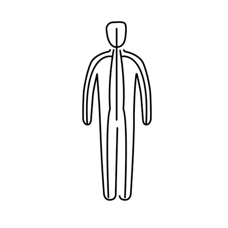 治癒: Meridians of the body black linear icon on white background   flat design alternative healing illustration and infographic  イラスト・ベクター素材