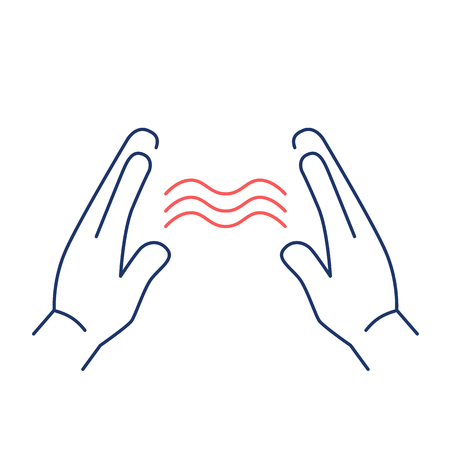 energy healing: Energy flowing between healings hands red and blue linear icon on white background | flat design alternative healing illustration and infographic