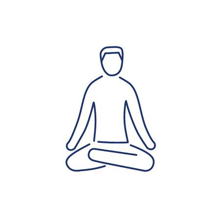 治癒: Meditation relaxation positon blue linear icon on white background   flat design alternative healing illustration and infographic
